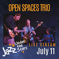 Ad with picture of Open Spaces Trio musicians